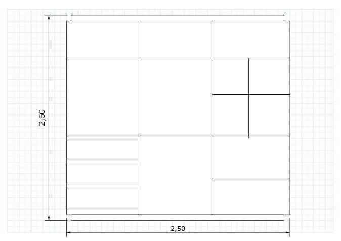 Modelo de armário em metro quadrado.